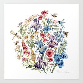 Wildflowers & Insects Art Print
