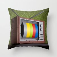 springsteen Throw Pillows featuring 57 Channels and Nothing On by powerpig