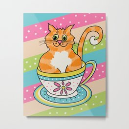 Ginger Tom cat in a china cup Metal Print