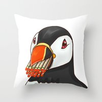 puffin Throw Pillows featuring Puffin' Puffin by t-shirt lifter