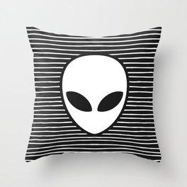 Alien on Black and White stripes Throw Pillow