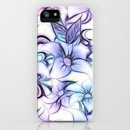 Violet pink teal hand painted sketch elegant floral iPhone Case