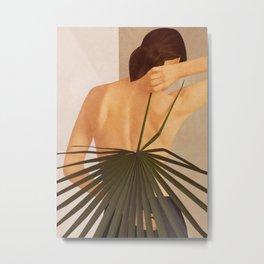 Model with Leaf Metal Print