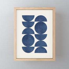 Blue navy retro scandinavian Mid century modern Framed Mini Art Print