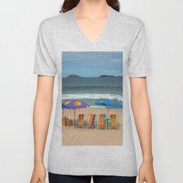 Ipanema Tropical Beach Landscape Seascape, Rio de Janeiro, Brazil Unisex V-Neck