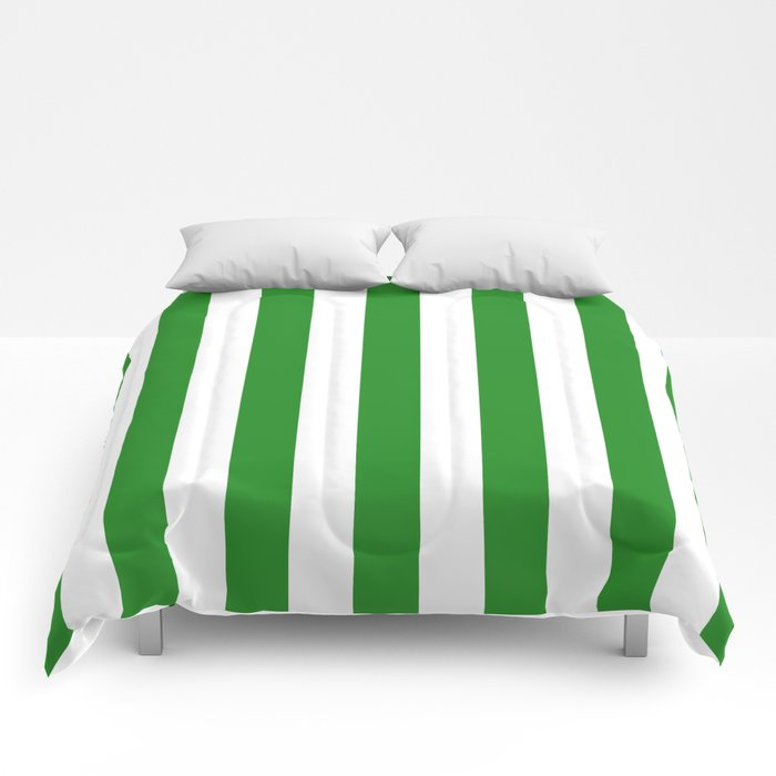 Vertical Stripes (Forest Green/White) Comforters