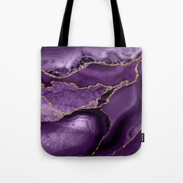 Glamour Purple Bohemian Watercolor Marble With Glitter Veins Tote Bag