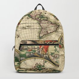 Old map of world (both hemispheres) Backpack
