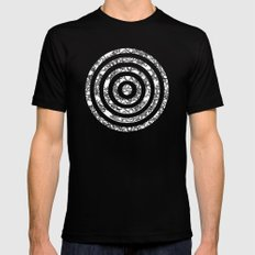 Lila's Flowers Repeat Black and White MEDIUM Black Mens Fitted Tee