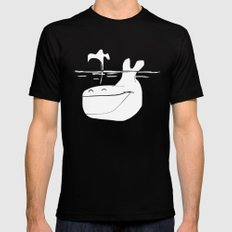 Happy Whale MEDIUM Black Mens Fitted Tee