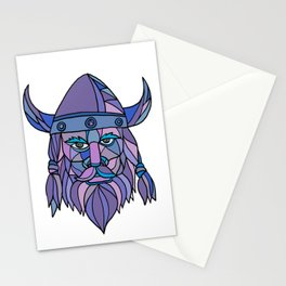 Viking Head Mascot Mosaic Stationery Cards
