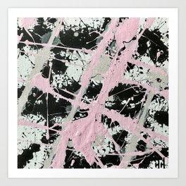Miniature Original  - black and pink Art Print