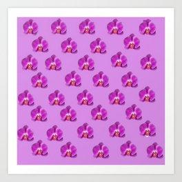 Purple Butterfly Orchids Patterns Golden Art Art Print