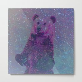 Bear Nebula (brown bear in the stars) Metal Print