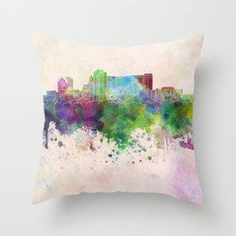 Rochester MN skyline in watercolor background Throw Pillow