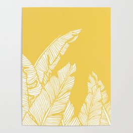 Banana Leaves on Yellow #society6 #decor #buyart Poster