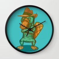 platypus Wall Clocks featuring Perry the Platypus by Mikhail Desales