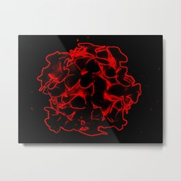 Red electric flowers on black background Metal Print