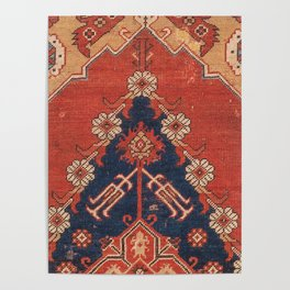 Southwest Tuscan Shapes III // 18th Century Aged Dark Blue Redish Yellow Colorful Ornate Rug Pattern Poster