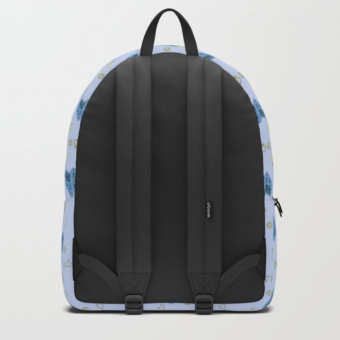 Love . The filigree heart . Blue background . Backpack