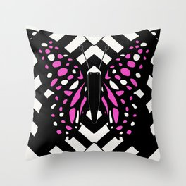 Hazy pink butterfly Throw Pillow