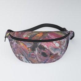 dark red acrylic pouring Fanny Pack