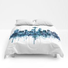 Seattle Skyline monochrome watercolor Comforters