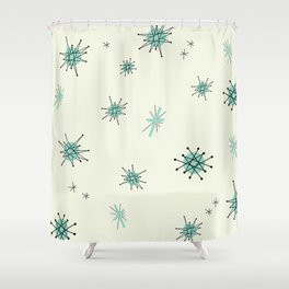 Mid Century Stars Retro Vintage Pattern Shower Curtain