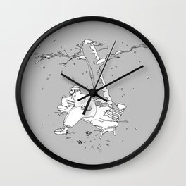 Lonely Man and First Snow Wall Clock