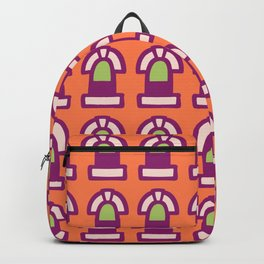 New York Windows Pattern 261 Orange Raspberry and Green Backpack