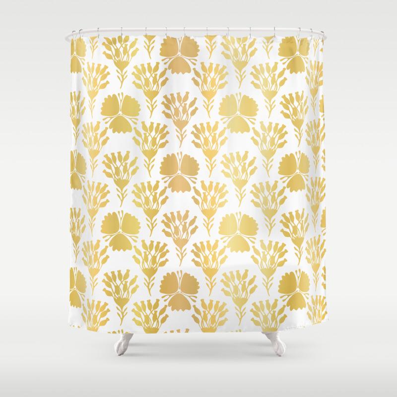 Luxury Gold Foil Flower Damask Seamless Vector Pattern Hand Drawn Metallic Shower Curtain