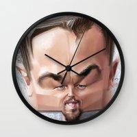 leonardo Wall Clocks featuring Leonardo Dicaprio by Alexander Novoseltsev