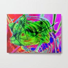 Flower Glitch Metal Print