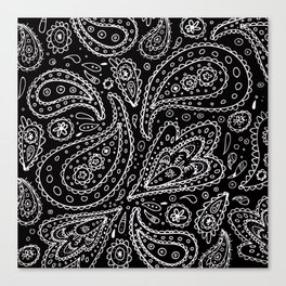 Classic Black and White Paisley Canvas Print