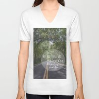 not all who wander V-neck T-shirts featuring Not all those who wander... by AnchorMySoul
