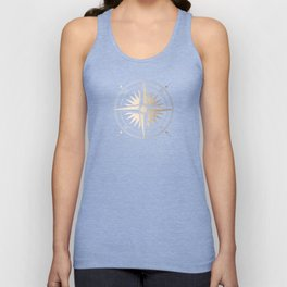 Gold on White Compass Unisex Tank Top