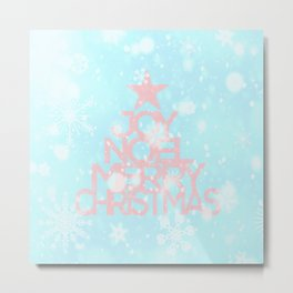 Joy, Noel, Merry Christmas and Star pattern - pink on aqua Metal Print