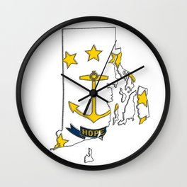 Rhode Island Map with State Flag Wall Clock