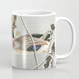 Mallard Ducks Diving - Japanese Vintage Woodblock Print Coffee Mug