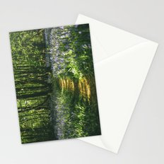Path through wild Bluebells in ancient woodland. Wayland Wood, Norfolk, UK. Stationery Cards
