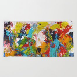 """The Abstract Mediterranean"" Acrylic Painting by Noora Elkoussy Beach Towel"