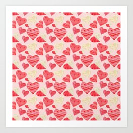 red hearts pattern pink Art Print