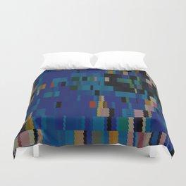 Navajo Blue and Beige Digi Fractal Duvet Cover