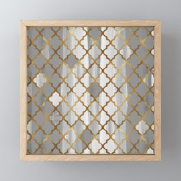 Moroccan Tile Pattern In Grey And Gold Framed Mini Art Print