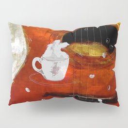 cup of coffee on acousic guitar - color Pillow Sham