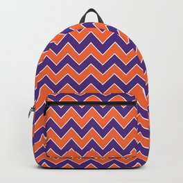 Orange and purple clemson chevron stripes university college alumni football fan gifts Backpack