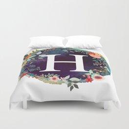 Personalized Monogram Initial Letter H Floral Wreath Artwork Duvet Cover