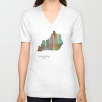 kentucky V-neck T-shirts featuring Kentucky state map  by bri.buckley