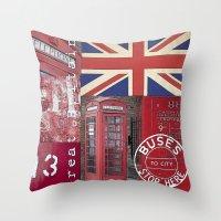 british flag Throw Pillows featuring Very British by LebensART