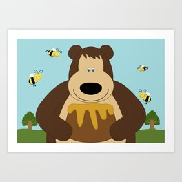 I ♥ honey Art Print
